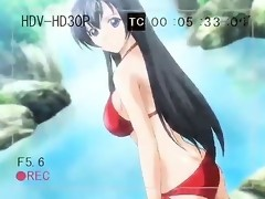 Busty hentai brunette sucks this hard hentai
